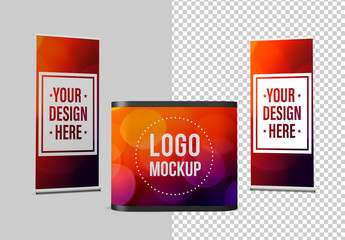 2 Rollup Banners and a Stand Mockup