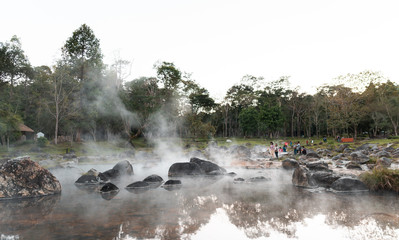 Landscape Hot spring river with sulfur limestone, natural Thailand onsen mineral water pond at Chae Son National Park