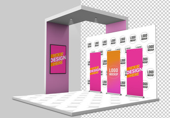 Kiosk with Banners and Backgrounds Mockup