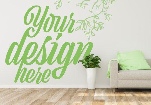 Wall Decoration Mockup with Sofa