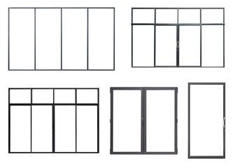 Real black modern windows set isolated on white background, various office frontstore frames collection for design, exterior building aluminium metal facade element Fototapete