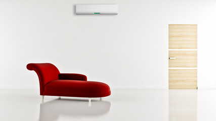 large luxury modern bright interiors with air conditioning illustration 3D rendering