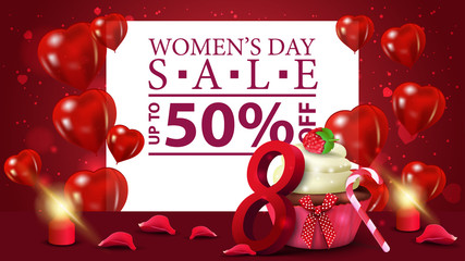 Horizontal red discount banner to the women's day with cupcake and raspberry berries