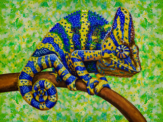 Oil painting - a chameleon on the background of nature