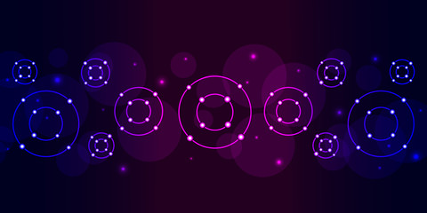 Modern abstract background with glowing circles in neon gradient magenta blue.
