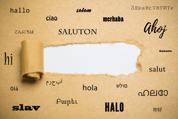 "Torn paper revealing copy space surrounded by the word ""hello"" in many languages"