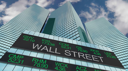 Wall Street Stock Market Buildings Skyline 3d Illustration