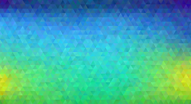 Blue, Green and Yellow Gradient Blur Low Poly Triangle Pattern Background. Shiny Crystal Geometric Faceted Texture. Vector Graphic for Web, Mobile Interfaces or Print Design. 9:16 Aspect Ratio Layout