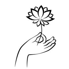 hand of buddha holding lotus. sketch drawing