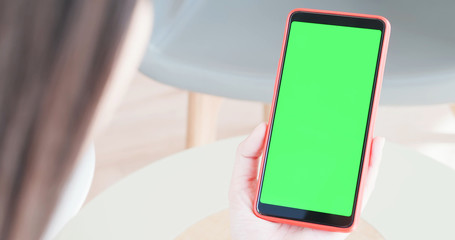 cell phone with green screen