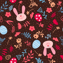 Seamless easter rabbit and eggs. Background with Easter bunnies and eggs.