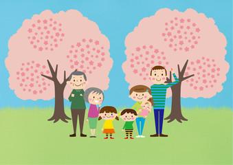 お花見で桜を楽しむ3世帯家族