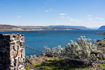 View over Columbia river and I-90 Vantage bridge from Ginkgo Petrified Forest State Park