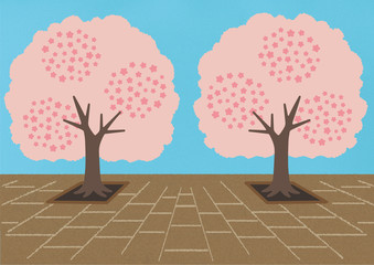 桜・桜の木・桜並木・お花見のイラスト