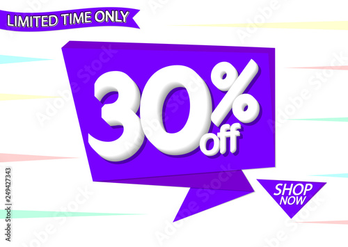 Sale 30% off tag, speech bubble banner design template