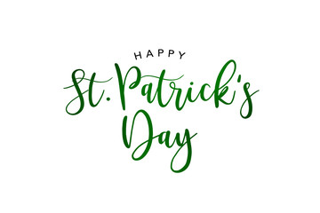Wall Mural - Happy St. Patrick's Day Holiday Green Glitter Script Text Isolated Over White Background