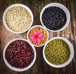 whole grains seeds various lentils with mung bean , black bean , red kidney bean , soybean and Job's tears