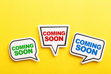 Coming Soon Speech Bubble Isolated On Yellow Background
