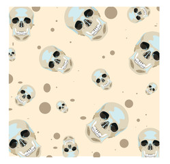 Vector seamless texture with cute skulls isolated