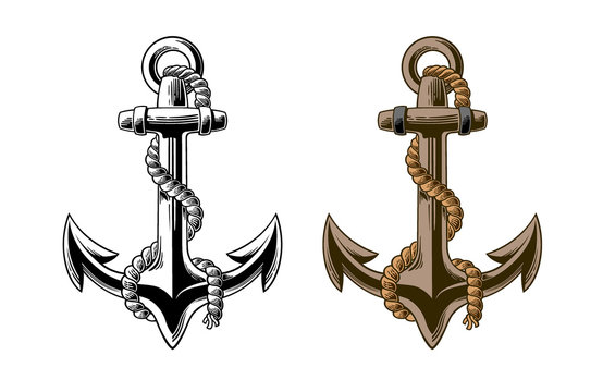 Hand drawn anchor with rope Isolated on white background. Black and white vector illustration of anchor done in woodcut style. Layered file for easier customization.