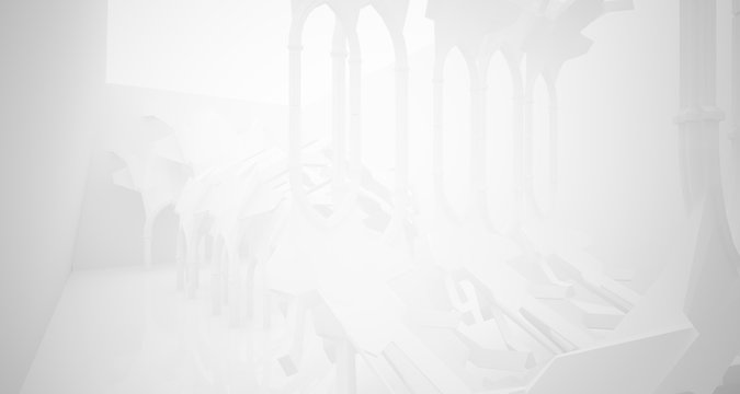 Abstract white gothic interior. 3D illustration and rendering.