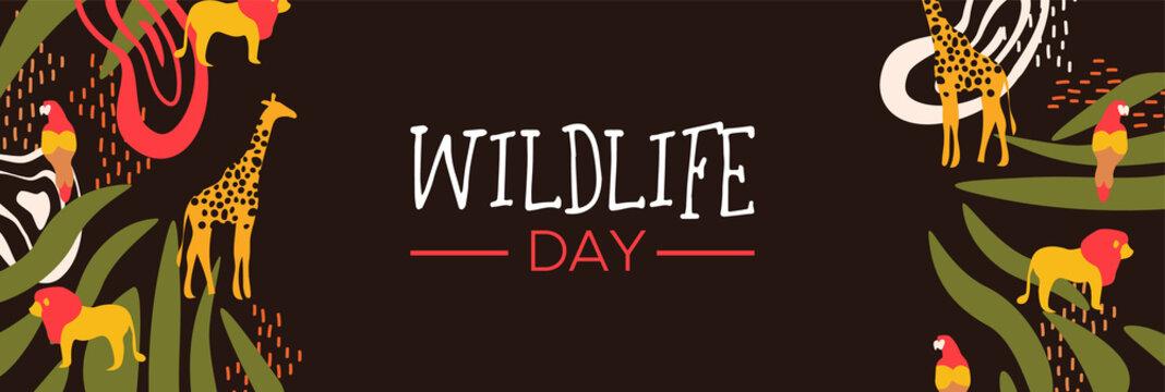 Wildlife Day safari web banner with wild animals