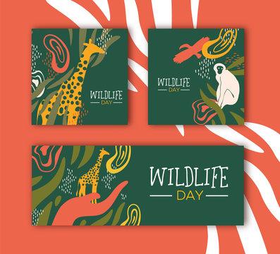 Wildlife Day safari concepts set with wild animals