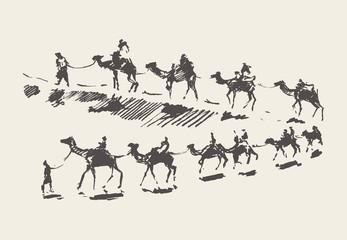 Caravan camels desert rawn vector sketch drawn