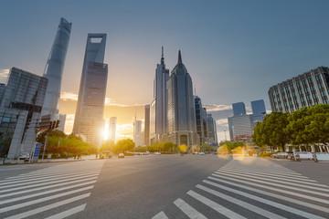 Fotobehang - shanghai century avenue in sunset