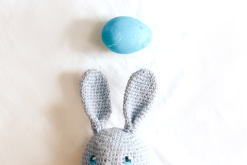knitted blue rabbit blue toy egg top view