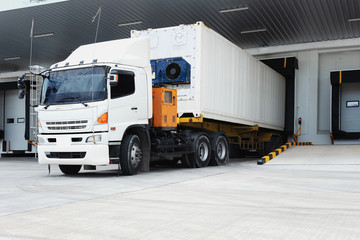 Refrigerator Truck Freezing Food. Transporting goods in the loading goods of the freezing warehouse. Storage for Ready-made foods or Ready-to-Eat Foods. Export-Import Logistics system concept. - fototapety na wymiar