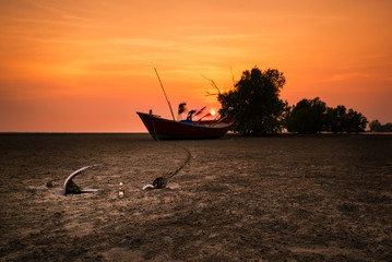Anchored of Fishing boats on shore in sunset