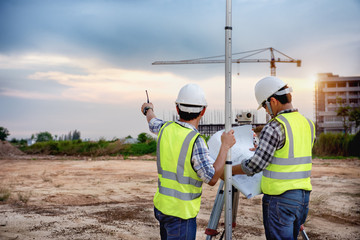 Surveyor equipment. Surveyor's telescope at construction site, Surveying for making contour plans are a graphical representation of the lay of the land before startup construction work