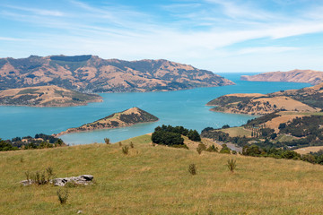 View to Akaroa harbor from Summit road, South Island of New  Zealand