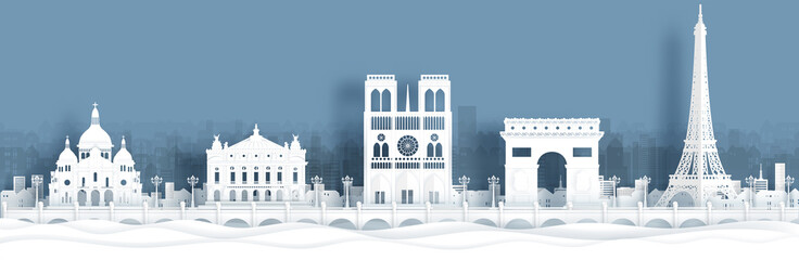Fototapete - Panorama view of Paris, France skyline with world famous landmarks in paper cut style vector illustration