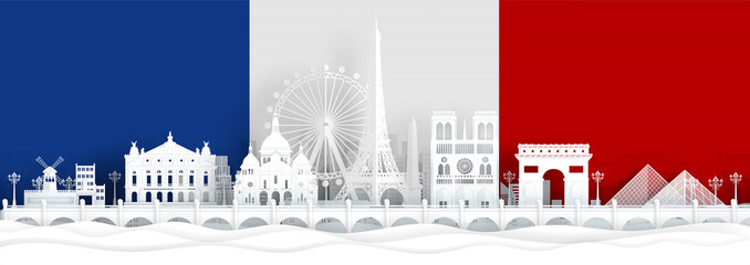 Fototapete - France flag and famous landmarks in paper cut style vector illustration.