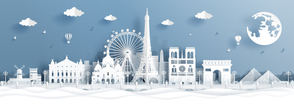 Panorama postcard and travel poster of world famous landmarks of Paris, France in paper cut style vector illustration
