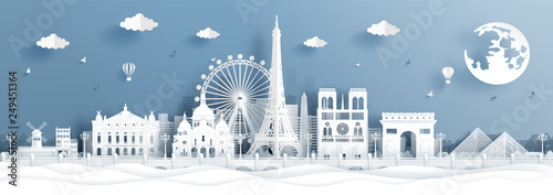 Fototapete Panorama postcard and travel poster of world famous landmarks of Paris, France in paper cut style vector illustration