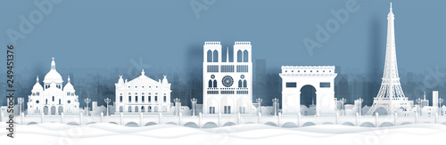 Fototapete Panorama view of Paris, France skyline with world famous landmarks in paper cut style vector illustration