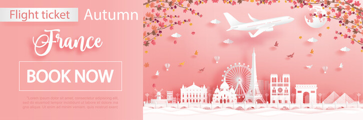 Fototapete - Flight and ticket advertising template with travel to Paris, France in autumn season with falling maple leaves and famous landmarks in paper cut style vector illustration
