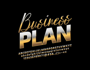 Vector Golden metallic emblem Business Plan. Chic reflective Font. Stylish Alphabet Letters, Numbers and Symbols