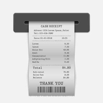 Paper sales printed receipt