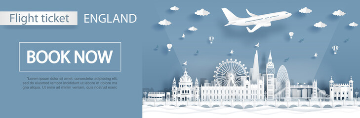 Flight and ticket advertising template with travel to London, England concept and famous landmarks in paper cut style vector illustration