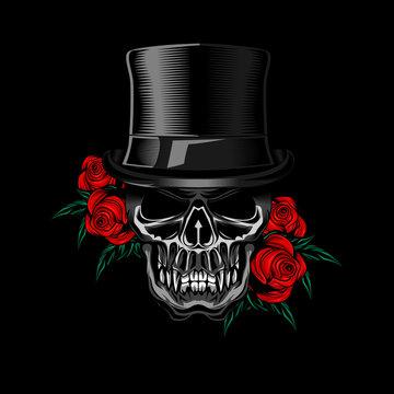 Voodo skull Rose vector illustration