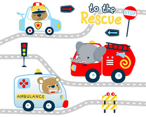 Rescue vehicles cartoon with funny animals driver