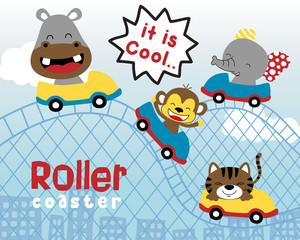 funny animals cartoon playing roller coaster