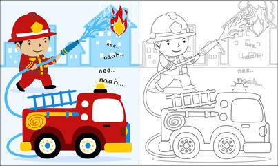 Vector cartoon of fire rescue, coloring book or page
