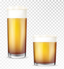 Beer glasses. Empty and full transparent cup.
