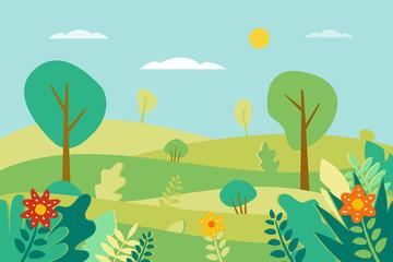Spring landscape Vector illustration in flat style