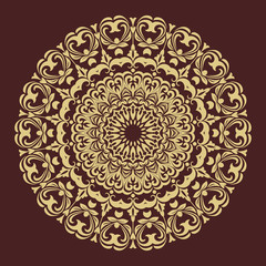 Oriental pattern with arabesques and floral elements. Traditional classic brown and golden round ornament. Vintage pattern with arabesques